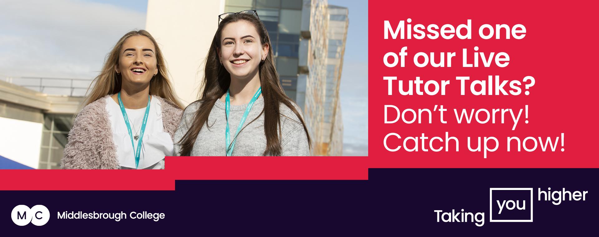 Middlesbrough College Live Tutor Talks